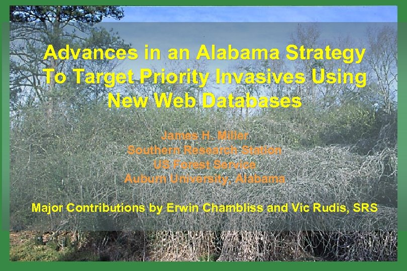 Advances in an Alabama Strategy To Target Priority Invasives Using New Web Databases James