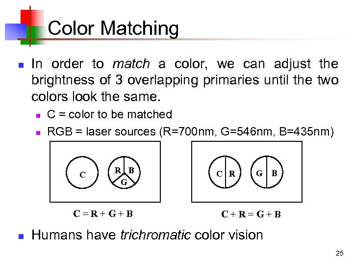 Color Matching n In order to match a color, we can adjust the brightness