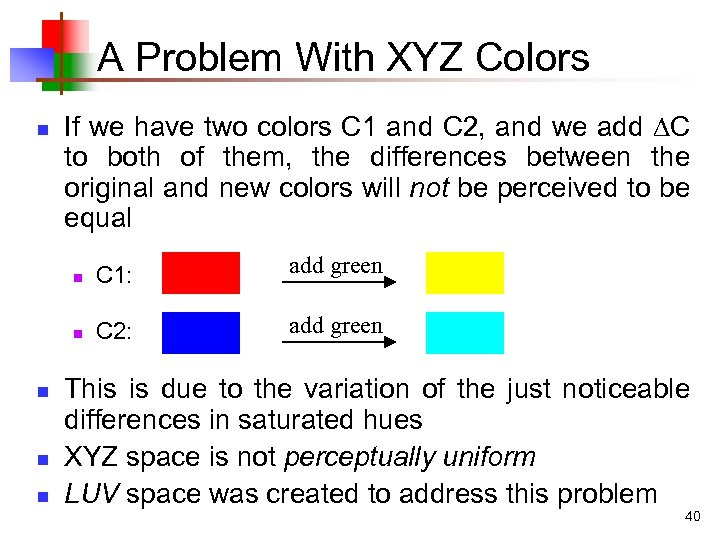 A Problem With XYZ Colors n If we have two colors C 1 and