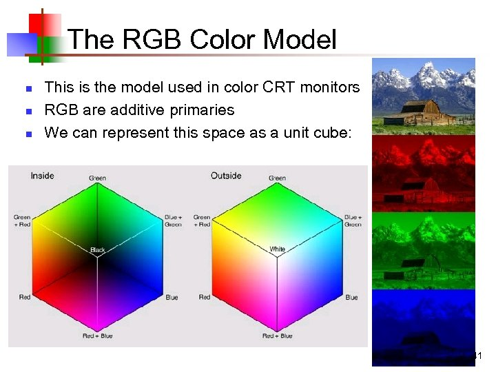The RGB Color Model n n n This is the model used in color