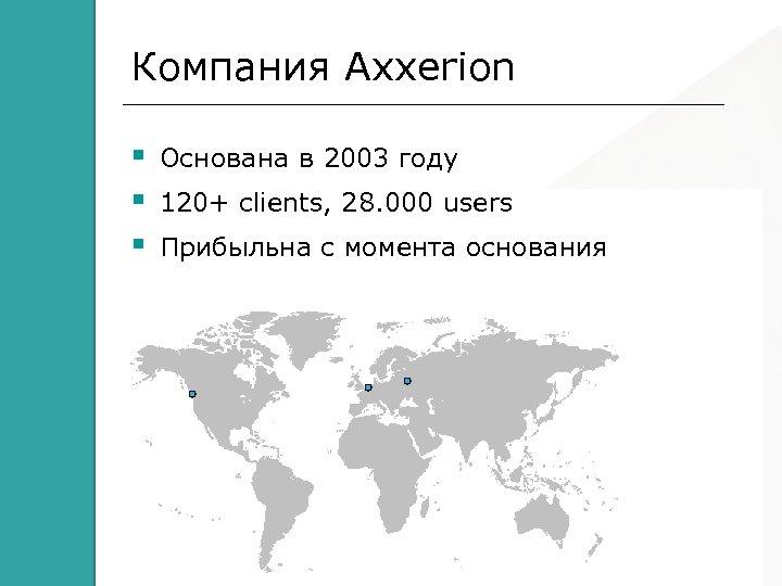 Компания Axxerion Основана в 2003 году 120+ clients, 28. 000 users Прибыльна с момента