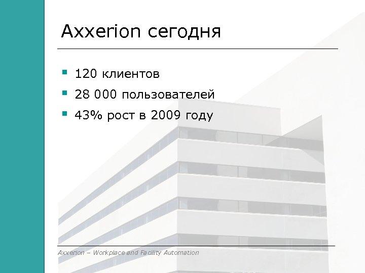 Axxerion сегодня 120 клиентов 28 000 пользователей 43% рост в 2009 году Axxerion –