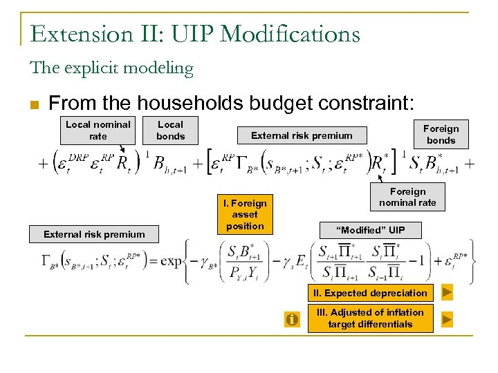 Extension II: UIP Modifications The explicit modeling n From the households budget constraint: Local