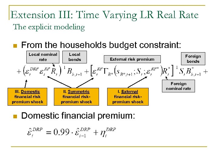 Extension III: Time Varying LR Real Rate The explicit modeling n From the households