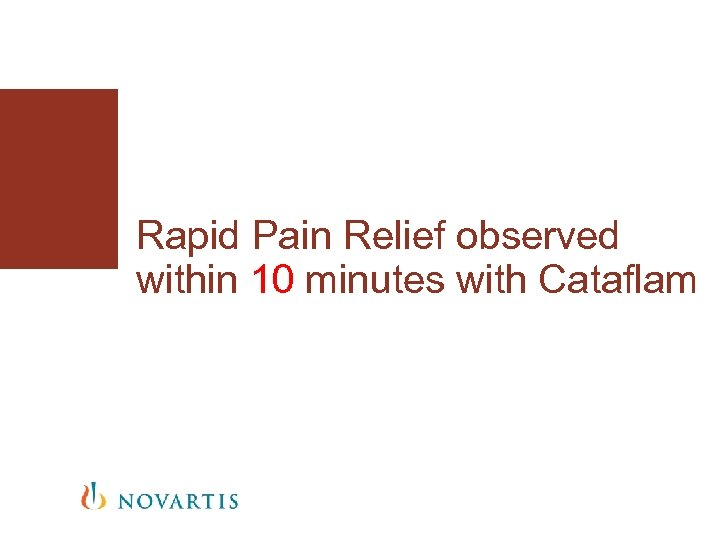 Rapid Pain Relief observed within 10 minutes with Cataflam