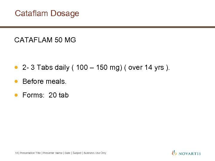 Cataflam Dosage CATAFLAM 50 MG · 2 - 3 Tabs daily ( 100 –