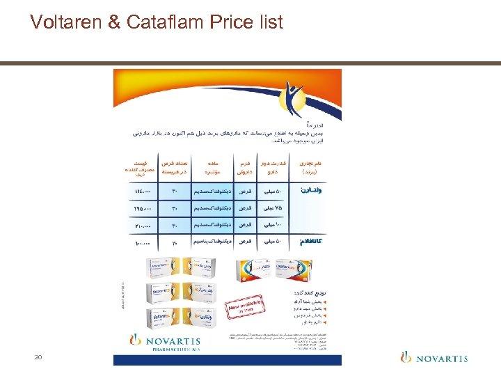 Voltaren & Cataflam Price list 20