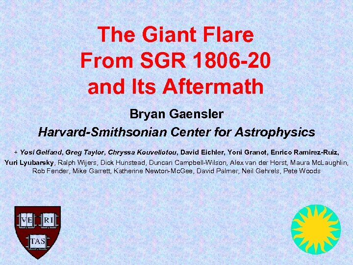 The Giant Flare From SGR 1806 -20 and Its Aftermath Bryan Gaensler Harvard-Smithsonian Center