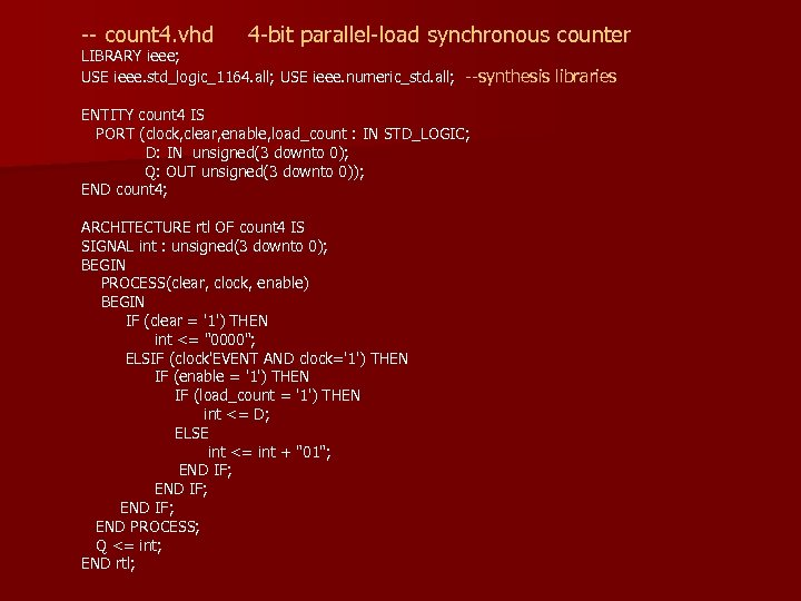 -- count 4. vhd 4 -bit parallel-load synchronous counter LIBRARY ieee; USE ieee. std_logic_1164.