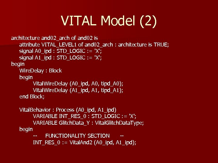 VITAL Model (2) architecture and 02_arch of and 02 is attribute VITAL_LEVEL 1 of