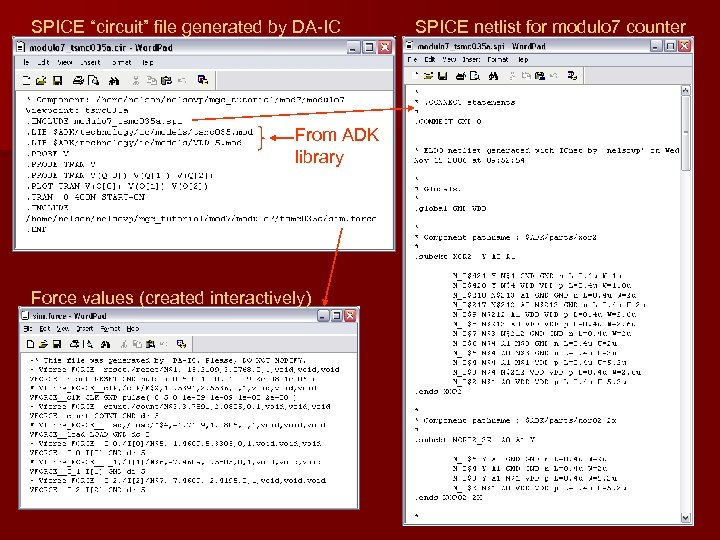 """SPICE """"circuit"""" file generated by DA-IC From ADK library Force values (created interactively) SPICE"""