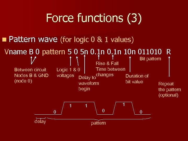 Force functions (3) n Pattern wave (for logic 0 & 1 values) Vname B