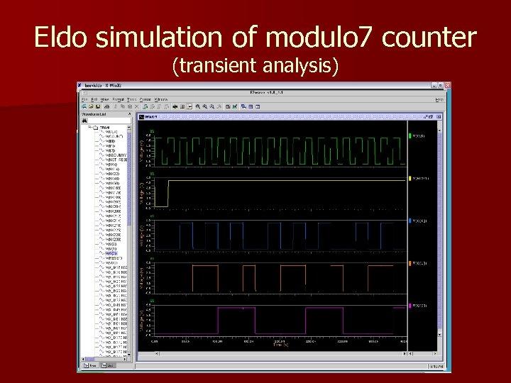 Eldo simulation of modulo 7 counter (transient analysis)