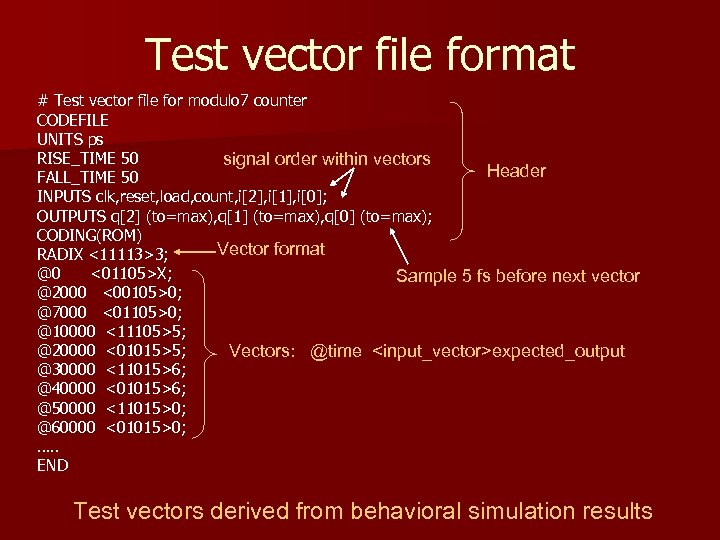 Test vector file format # Test vector file for modulo 7 counter CODEFILE UNITS