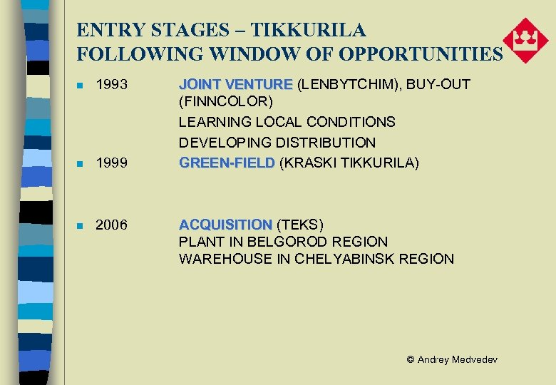 ENTRY STAGES – TIKKURILA FOLLOWING WINDOW OF OPPORTUNITIES n 1993 n 1999 n 2006