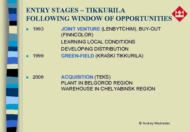ENTRY STAGES – TIKKURILA FOLLOWING WINDOW OF OPPORTUNITIES n 1993 n 1999 n 2006