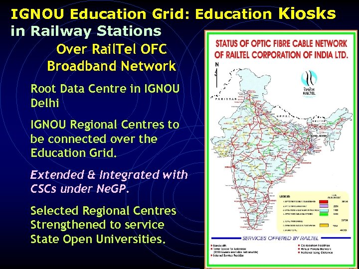 IGNOU Education Grid: Education Kiosks in Railway Stations Over Rail. Tel OFC Broadband Network