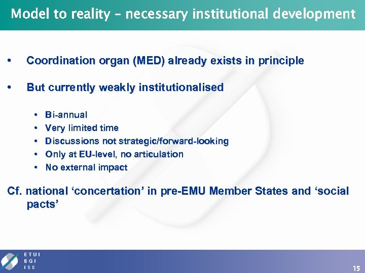 Model to reality – necessary institutional development • Coordination organ (MED) already exists in