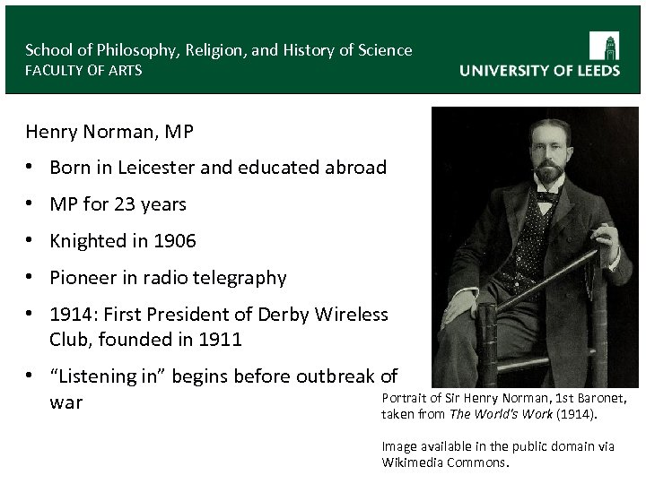 School of Philosophy, Religion, and History of Science FACULTY OF ARTS Henry Norman, MP