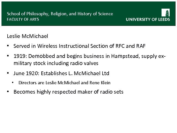 School of Philosophy, Religion, and History of Science FACULTY OF ARTS Leslie Mc. Michael