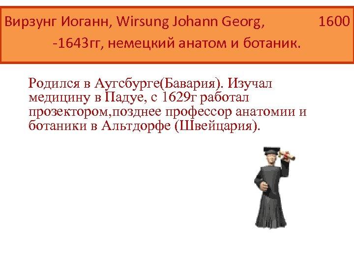 Вирзунг Иоганн, Wirsung Johann Georg, 1600 -1643 гг, немецкий анатом и ботаник. Родился в
