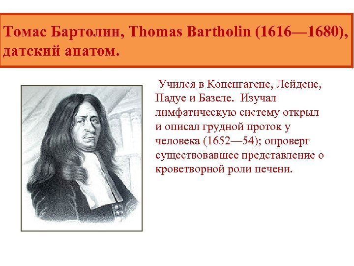 Томас Бартолин, Thomas Bartholin (1616— 1680), датский анатом. Учился в Копенгагене, Лейдене, Падуе и