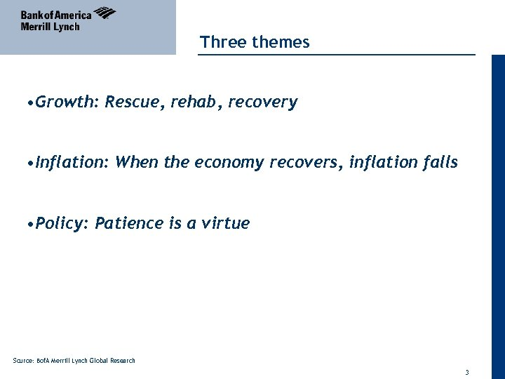 Three themes • Growth: Rescue, rehab, recovery • Inflation: When the economy recovers, inflation