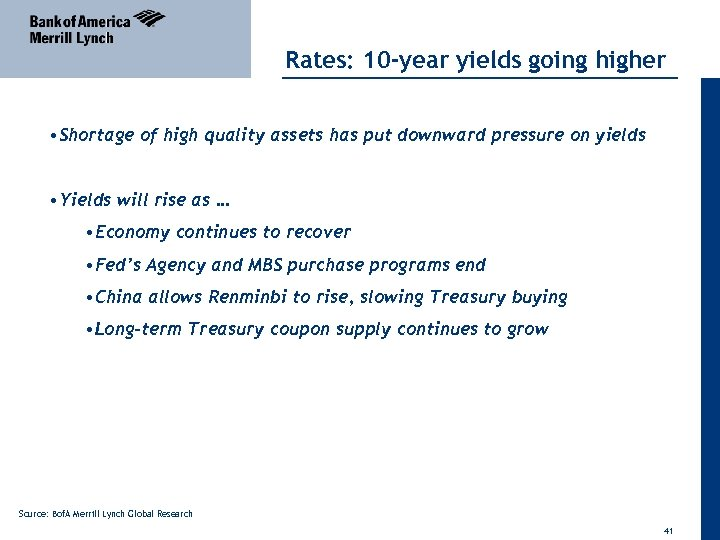 Rates: 10 -year yields going higher • Shortage of high quality assets has put
