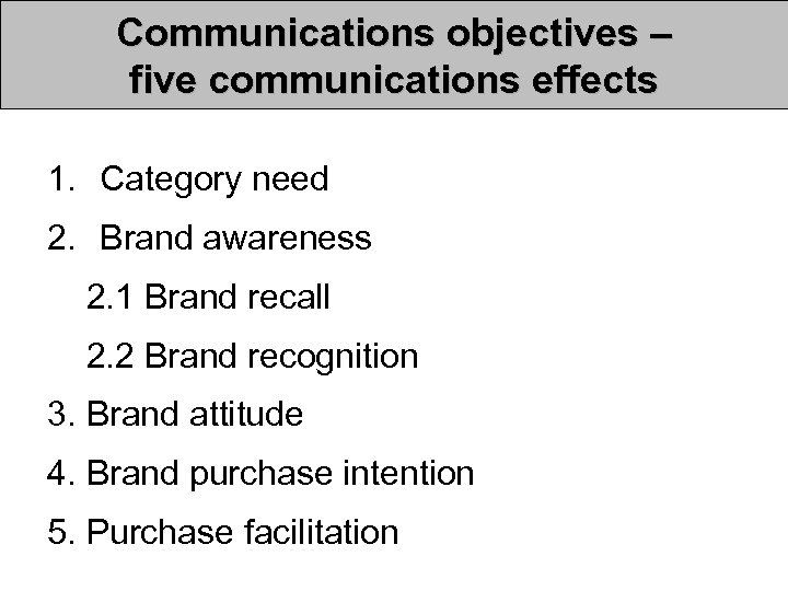 Communications objectives – five communications effects 1. Category need 2. Brand awareness 2. 1