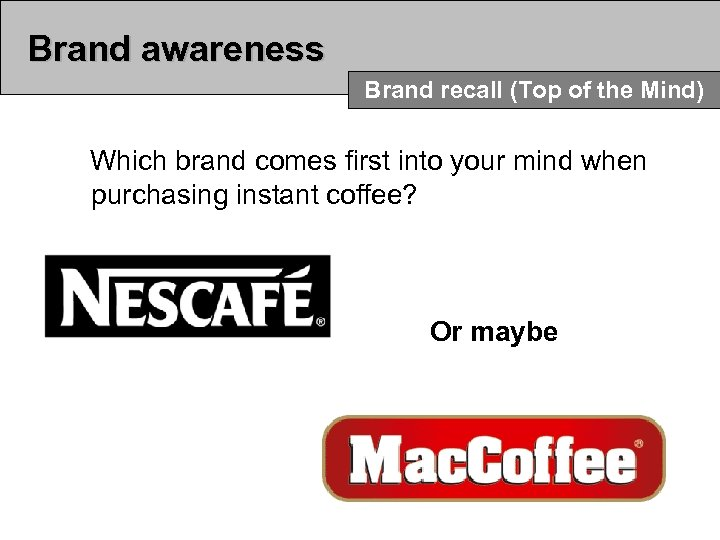 Brand awareness Brand recall (Top of the Mind) Which brand comes first into your