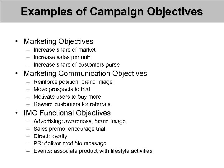 Examples of Campaign Objectives • Marketing Objectives – Increase share of market – Increase