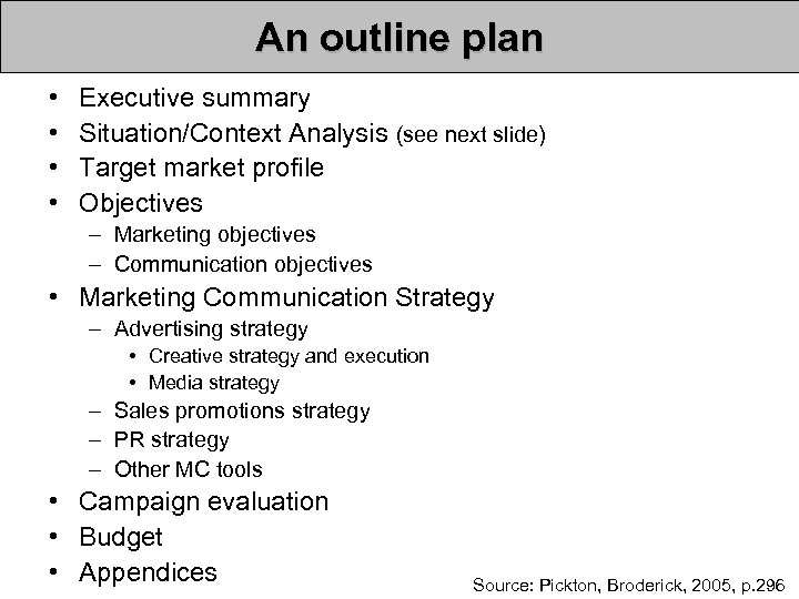 An outline plan • • Executive summary Situation/Context Analysis (see next slide) Target market