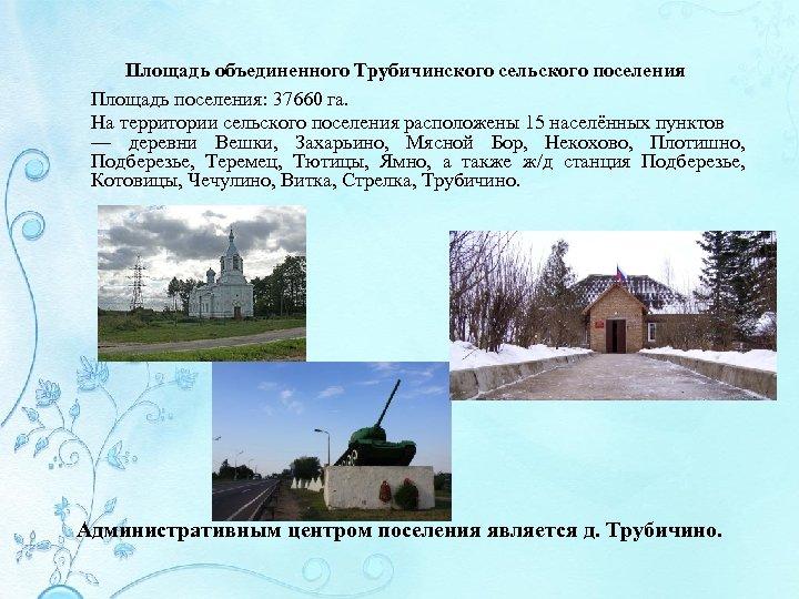 Площадь объединенного Трубичинского сельского поселения Площадь поселения: 37660 га. На территории сельского поселения расположены