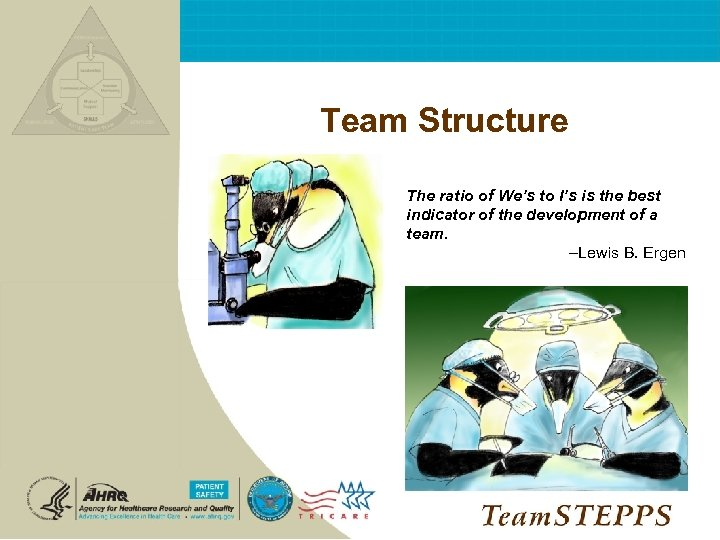 Team Structure NEXT: The ratio of We's to I's is the best indicator of