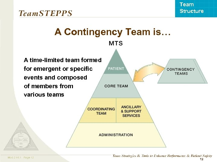 Team Structure A Contingency Team is… A time-limited team formed for emergent or specific