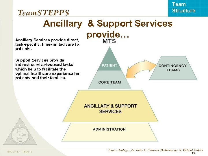 Team Structure Ancillary & Support Services provide… Ancillary Services provide direct, task-specific, time-limited care