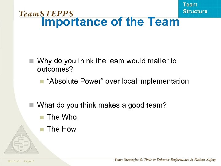 Team Structure Importance of the Team n Why do you think the team would