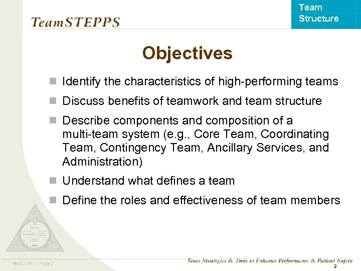 Team Structure Objectives n Identify the characteristics of high-performing teams n Discuss benefits of