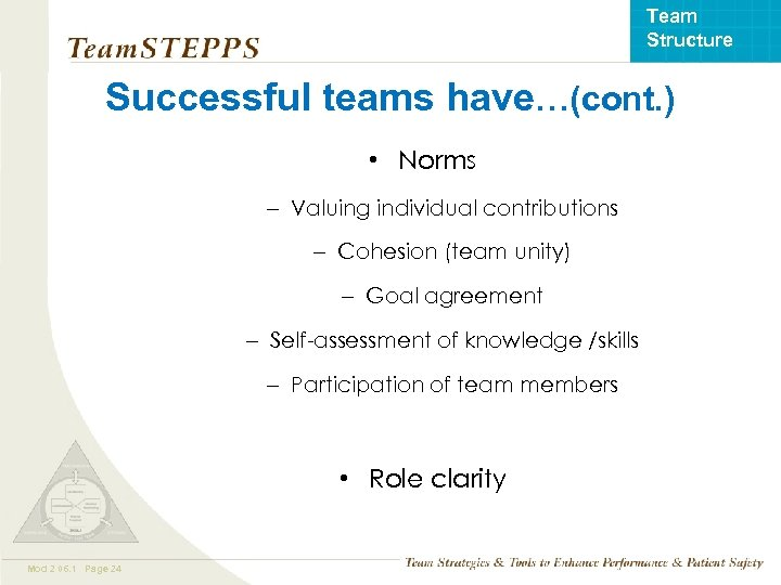 Team Structure Successful teams have…(cont. ) • Norms – Valuing individual contributions – Cohesion