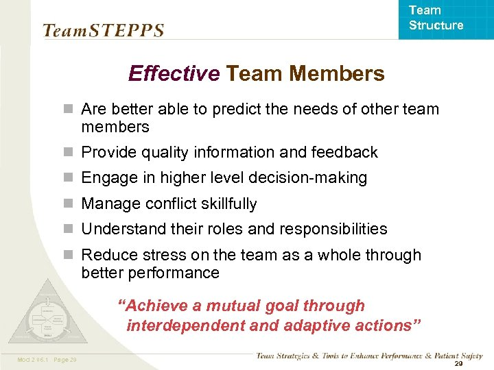 Team Structure Effective Team Members n Are better able to predict the needs of