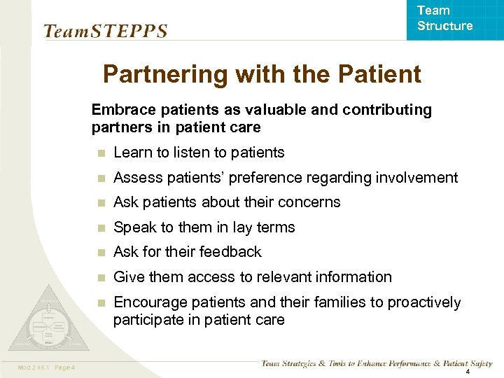 Team Structure Partnering with the Patient Embrace patients as valuable and contributing partners in