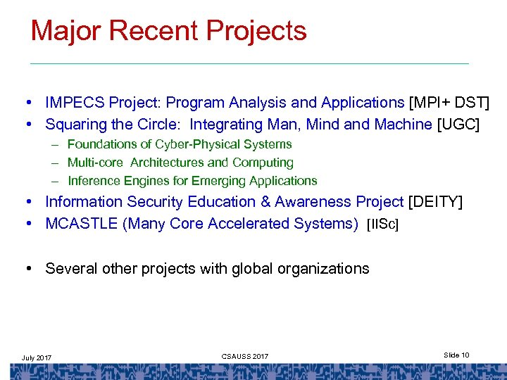 Major Recent Projects • IMPECS Project: Program Analysis and Applications [MPI+ DST] • Squaring
