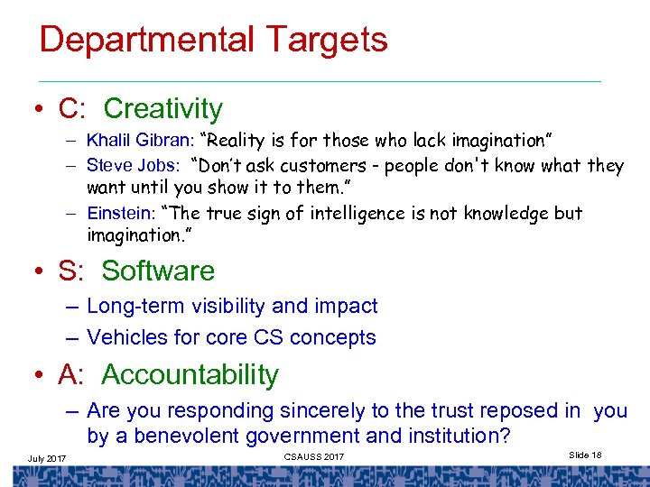 """Departmental Targets • C: Creativity – Khalil Gibran: """"Reality is for those who lack"""