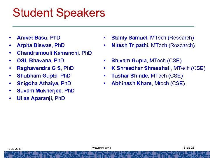 Student Speakers • • • Aniket Basu, Ph. D Arpita Biswas, Ph. D Chandramouli