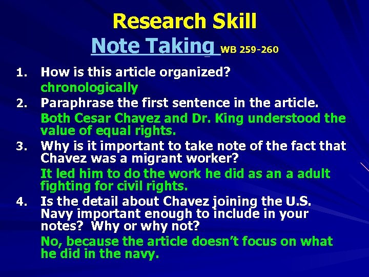 Research Skill Note Taking WB 259 -260 1. 2. 3. 4. How is this