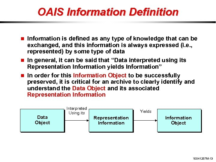 OAIS Information Definition Information is defined as any type of knowledge that can be
