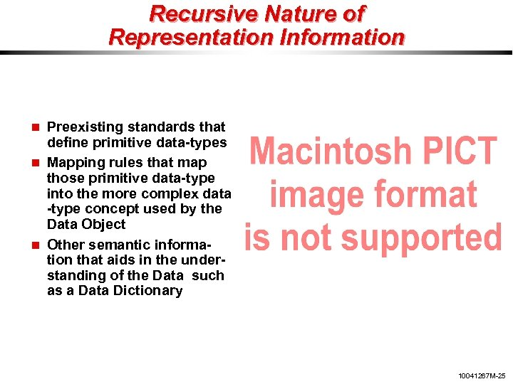 Recursive Nature of Representation Information Preexisting standards that define primitive data-types Mapping rules that