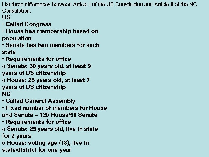 List three differences between Article I of the US Constitution and Article II of