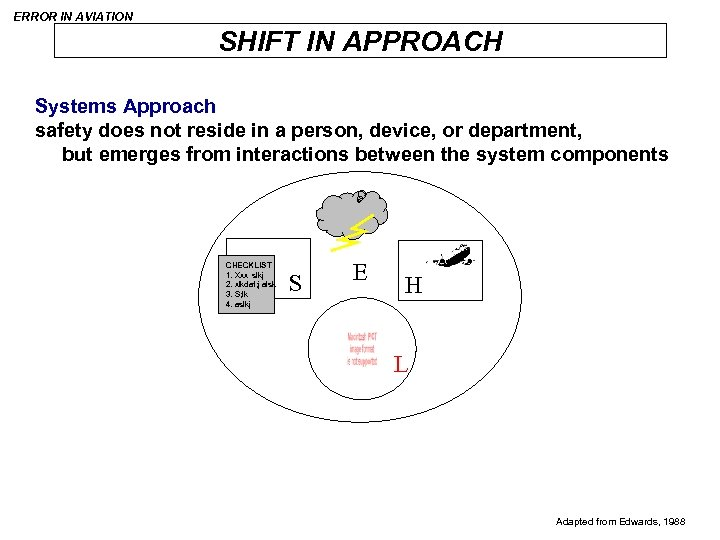 ERROR IN AVIATION SHIFT IN APPROACH Systems Approach safety does not reside in a
