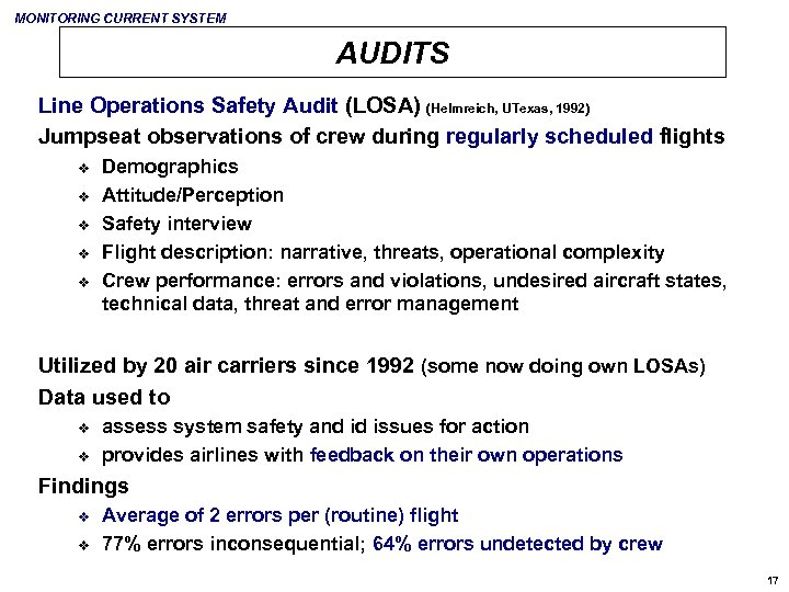 MONITORING CURRENT SYSTEM AUDITS Line Operations Safety Audit (LOSA) (Helmreich, UTexas, 1992) Jumpseat observations